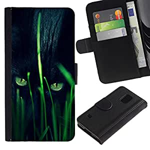 Billetera de Cuero Caso Titular de la tarjeta Carcasa Funda para Samsung Galaxy S5 V SM-G900 / Panther Hunting Grass Nature Eyes / STRONG