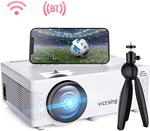Projector VicTsing Portable Mini Projector Bluetooth Projector 3800 Lumens Support 1080P 176'' Display 40,000 Hrs Lamp Life HiFi Sound with Tripod Compatible with PS4/HDMI/VGA/AV/USB/SD (White)