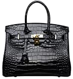 Cherish Kiss Padlock Bag Women Crocodile Leather Top Handle Handbags (35cm, Black)