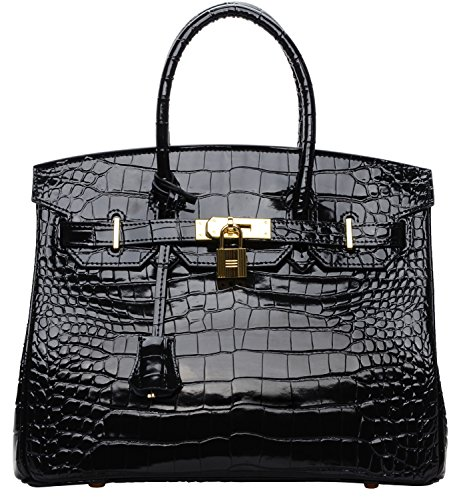 Cherish Kiss Padlock Bag Women Crocodile Leather Top Handle Handbags (35cm, Black) by Cherish Kiss