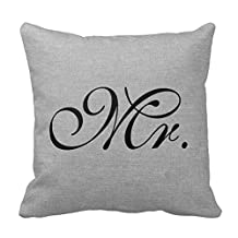 Decorative Home 18 X 18 Mr. faux french gray linen rustic chic initial jut Pillow Case Cushion Cover For Sofa Or Bedroom