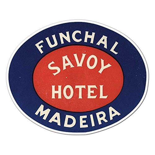 Vintage Travel Decal - Savoy Hotel Funchal Madeira - Vintage Portugal Travel Label - Vinyl Decal Sticker - 4.65