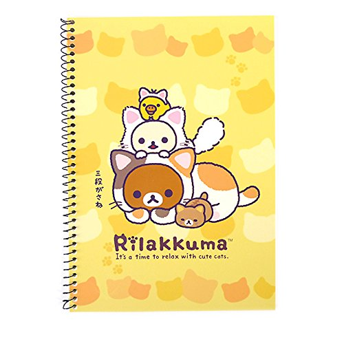San-x Rilakkuma A4 Spiral Notebook Note Pad - Cat Collection Collection (Orange)