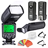 NeewerHigh Speed Sync E-TTL Camera Master/Slave Flash Kit for Canon EOS 5D Mark III , 5D Mark II, 1Ds Mark 6D, 5D, 7D, 60D, 50D, 40D, 30D, 300D, 100D, 350D, 400D, 450D, 500D, 550D, 600D, 650D, 700D, 1000D, 1100D/EOS Digital Rebel, SL1, XT, Xti, Xsi, T1i, T2i, T3i, T4i, T5i, XS, T3 and Other Canon DSLR Cameras, includes: (1)NW982C-II Flash, (1)Diffuser,(1)3-in-1 2.4Ghz Wireless Flash Trigge
