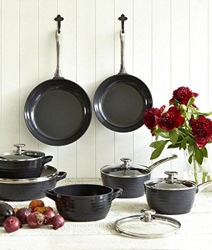 Portmeirion Sophie Conran Cast Aluminum Ceramic Coated Cookware Black Medium Casserole with Glass Lid, 8.0 Inch