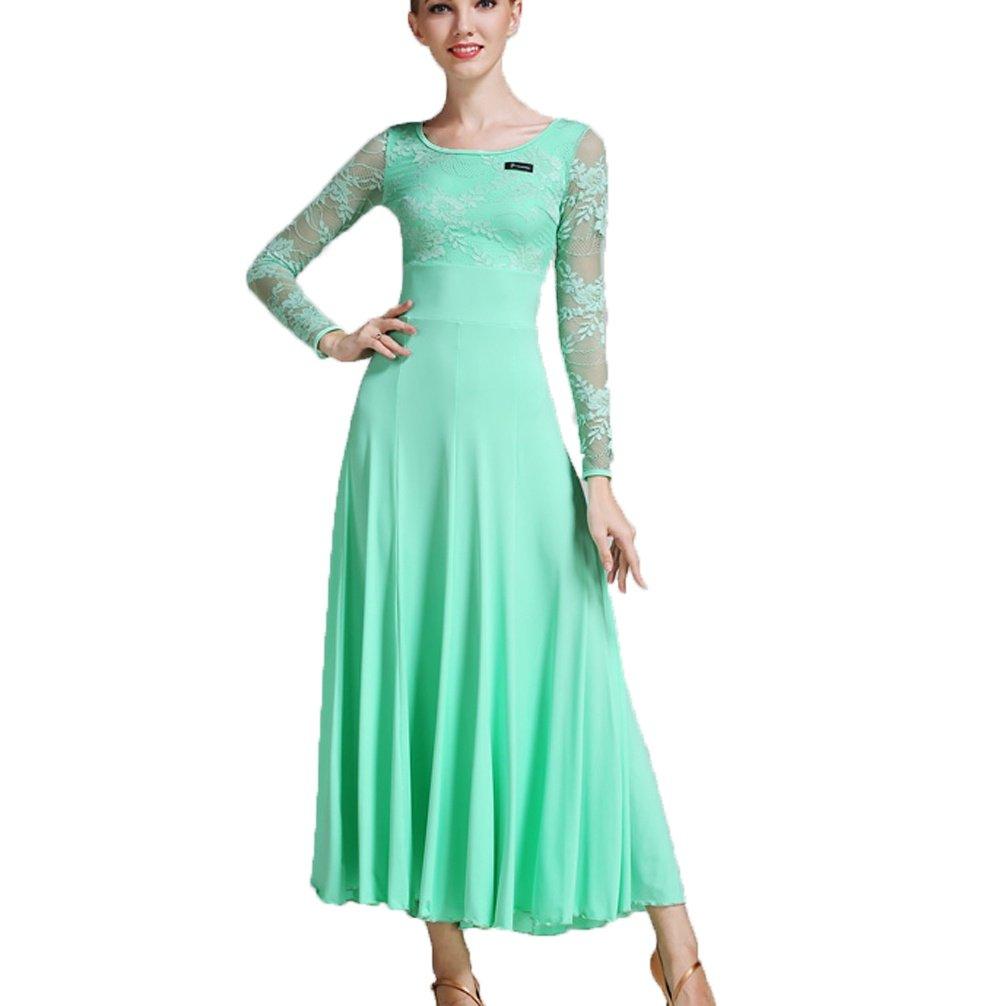 D Dentelle Manches Femmes Salle de Bal Robes de Danse Moderne Waltz Pratique Costume de Danse Perforhommece Robes pour Les Filles XL
