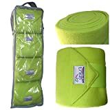 PRI Horse Leg Protection Set of Four Fleece Polo Wraps, Lime Green, Horse Size