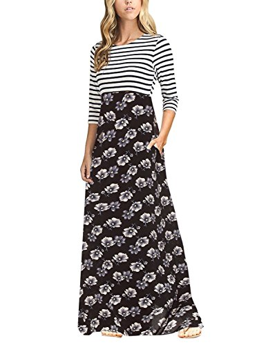Unbranded* Women's Striped Floral Print 3/4 Sleeve Tie Waist Maxi Dress With Pockets Black Small