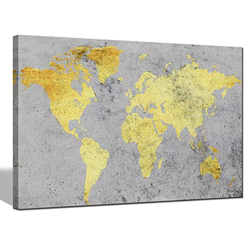 sechars - Modern Abstract World Map Canvas Prints Gold and Grey Maps Framed Art Wall Paintings Wall Decorations for Home Living Room Office Vitnage Global map Poster Ready to Hang (Canvas Gold Map)