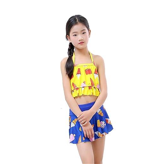 Guolipin Traje de baño niña Traje de baño para niños Bikini Plano ...