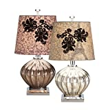 CC Home Furnishings 18'' French Inspired Pewter Mercury Glass Accent Table Lamp with Jade Green Shade