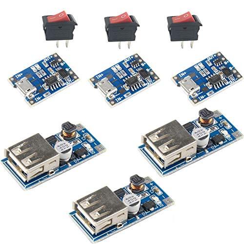 3 Sets Kits 3.7V Li-ion 18650 Lithium Lipo Battery Charging Board 5V USB Step UP Module