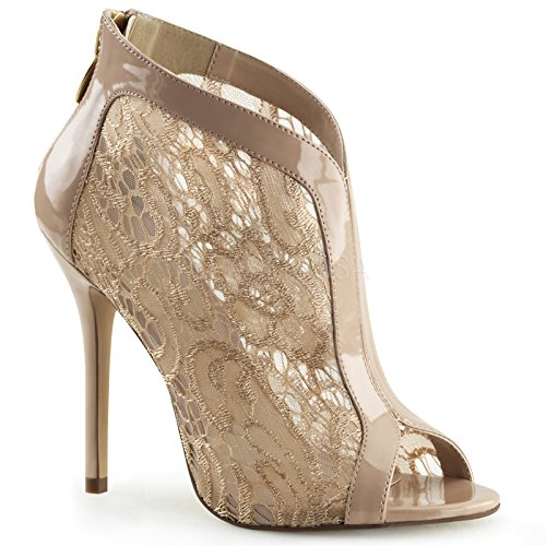 Fabulicious 5 Inch Heel, Open Toe Bootie With Lace Overlay and Patent Trim (Nude Patent;9)