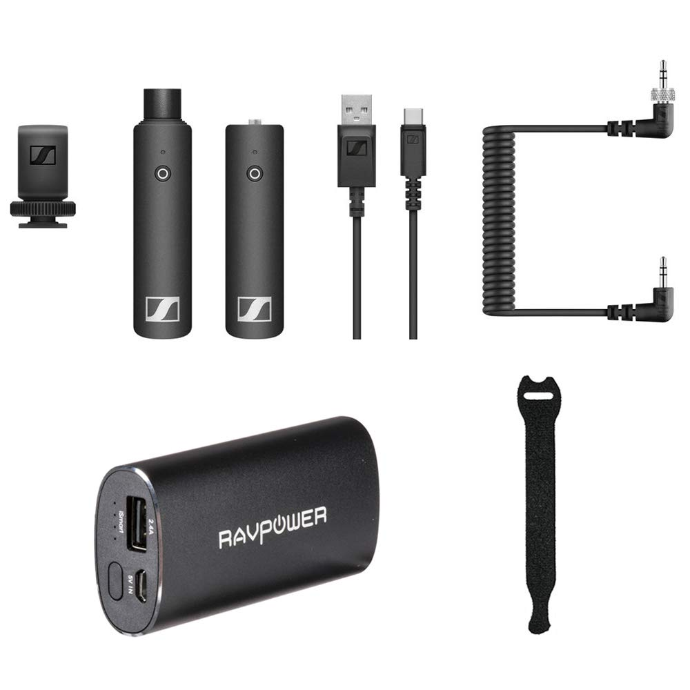 Sennheiser XSW-D Portable Interview Set with RAVPower Luster 6700mAh Charger & Fastener Straps 10-Pack Bundle by Sennheiser