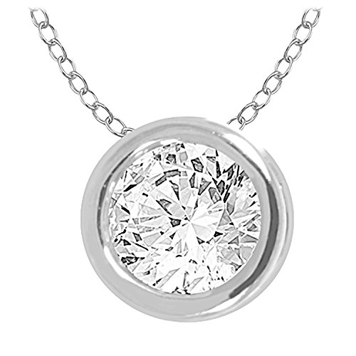 Bezel Stud Necklace (10k Round Diamond Solitaire Pendant Necklace (0.33cttw, IJ, I2/I3) 18