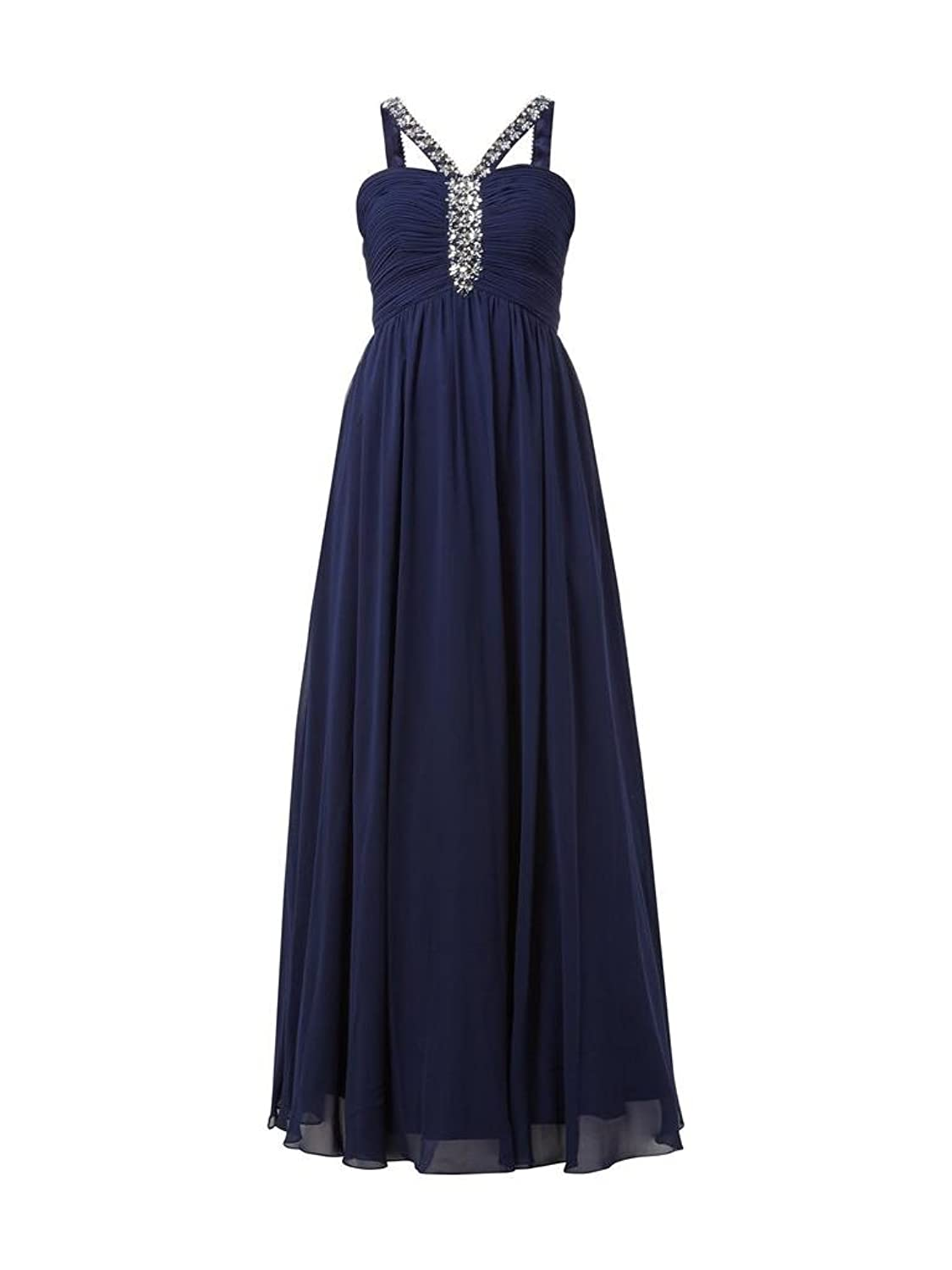 Charm Bridal Chiffon Beaded Mother of the Bride Women Dress with Spaghetti Strap