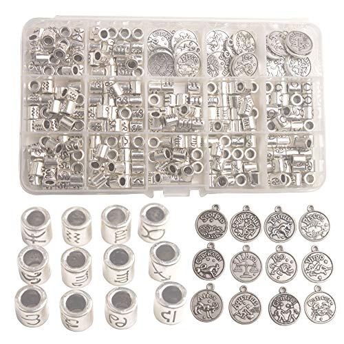 (Changjin One Box of 264PCS Antiqued Silver Metal Cylinder Zodiac Beads Sign Charms in Storage)