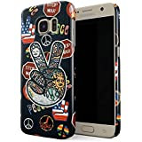Glitbit Samsung Galaxy S7 Case Peace Sign Hippie Embroidered 70s 80s 90s Hipster Pride Tie Dye Stop War Thin Design Durable Hard Shell Plastic Protective Case For Samsung Galaxy S7