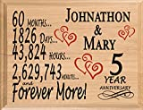 Broad Bay 5 Year Sign Personalized Plaque Custom Wood Five Year Wooden 60 Month for Her for Him for Couple