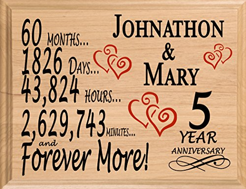 Broad Bay 5 Year Anniversary Sign Personalized Wood Wooden 5th Gift for Her for Him for Couple