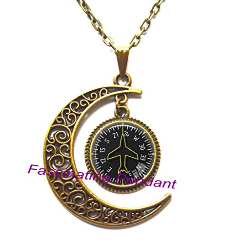 New Moon Necklace,Pilot Jewelry Airspeed Indicator Avionics Aircraft Instrument Pilot Pendant Vertical Speed Indicator Heading ()