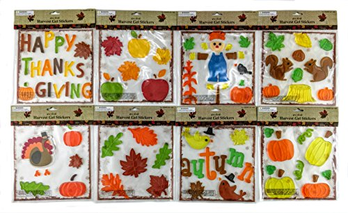 Thanksgiving Fall Gel Sticker Window Clings Bundle of 8 (Fall Window)