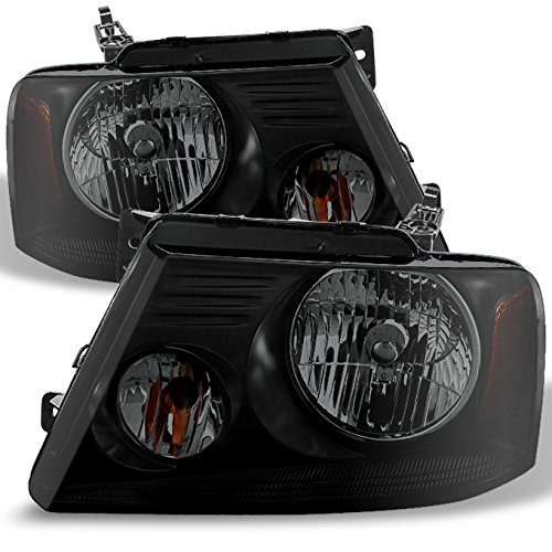 Black Smoke 04-08 F150 06-08 Linclon Mark LT Headlights Front Lamps Replacement Pair Left + Right