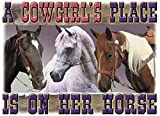 Cowgirl's Place on Her Horse! T Shirt, Gildan 100% Cotton, New (3Xx)