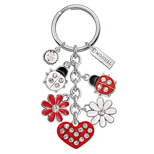 - Monnel Brand New Red Ladybug Heart Keychain with Velvet Bag Z427