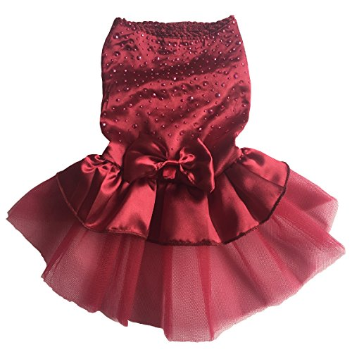 (Vedem Pet Small Dog Princess Rhinestone Satin T-Shirt Dress Wedding Tutu Voile Dress (S, Burgundy))