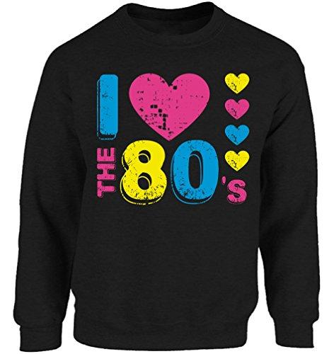 Vizor Unisex I Love The 80's Crewneck Sweatshirts 80s Party 80s Costume 80s Disco Black XL (1980 S Costume Ideas)