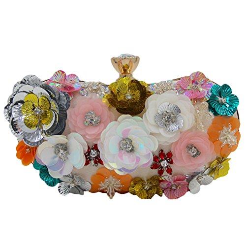 Zhuhaitf High Quality Ornaments Flowers Beads Unique Luxury Original Small Bags Handmade Handbags regalo caro for Ladies Champagne
