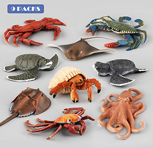 HiPlay Ocean Sea Animal Toy Figure 9 Packs Set-Realistic Design with Amazing Detail-Hand-Painted Lifelike Sea Creatures Models for Kids/Collectors -