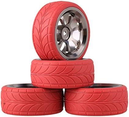 Mxfans RC 1: 10レッド矢印パターンRubber Tyres +グレー7-spokeアルミ合金ホイールリムのオンロードレーシング車のセット4