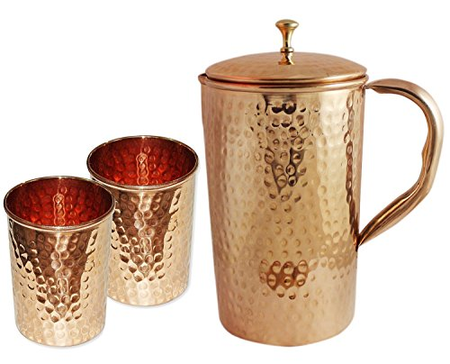 - AVS STORE ® Indian Pure Hammered Copper Jug with 2 Tumbler Glass Set for Ayurvedic Healing