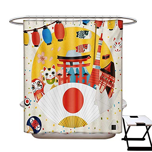 BlountDecor Lantern Shower Curtains Sets Bathroom Japanese Inspired Commercial Pattern Various Asian Culture Items Cool Cat Origami Satin Fabric Sets Bathroom W69 x L70 Multicolor