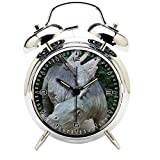 Children's Room Silver Dinosaur Silent Alarm Clock Twin Bell Mute Alarm Clock Quartz Analog Retro Bedside and Desk Clock with Nightlight-221.326_Dinosaur, Park, Prehistoric Times, Animal, Predator