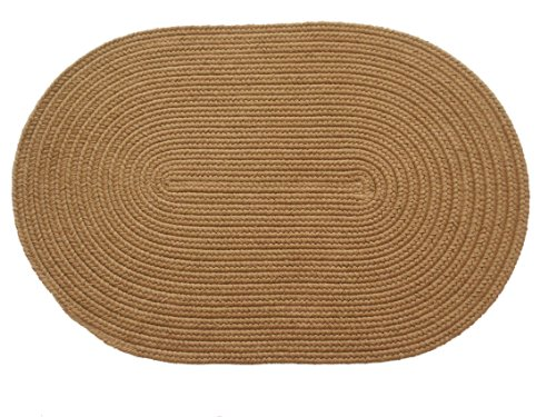 Solid polypropylene Oval Braided Rug, 2 by 3-feet, Camel