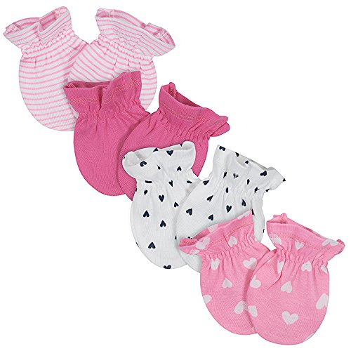 Gerber Baby Girls 4-Pack Mittens, Fox, 0-3 Months 14685416AG0103I