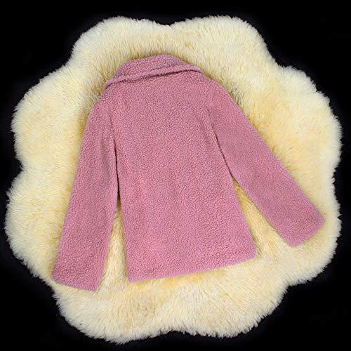 Punto Piel Grande Elegantes Cálido Invierno De Abrigo Abierto Sintética Mujer Chaqueta Talla Rosado Abrigos Ansenesna Rebajas cqT68Tf