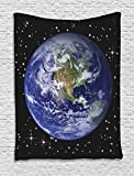 Ambesonne Galaxy and Space for Classroom Decorations Collection, North America Stars and the Moon from an Astronaut Eye Picture, Bedroom Living Teens Room Dorm Accessories Wall Hanging Tapestry, Black