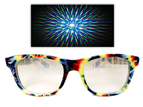 ASTROSHADEZ Diffraction 3D Rainbow Fireworks Prism Effect Glasses (Tie Dye, - Dye Glasses Tie