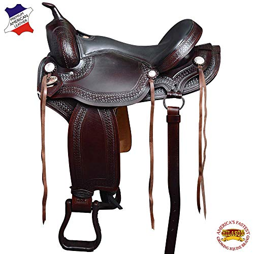 HILASON 17″ Gaited Western American Leather Flex Trail Horse Saddle