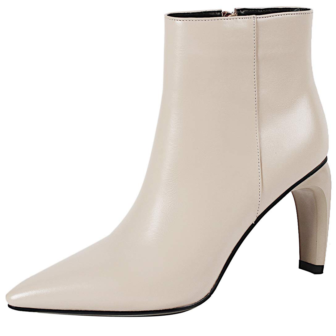 White Eithy Women's Shaccu Stiletto Ankle-high Zipper Leather Boots