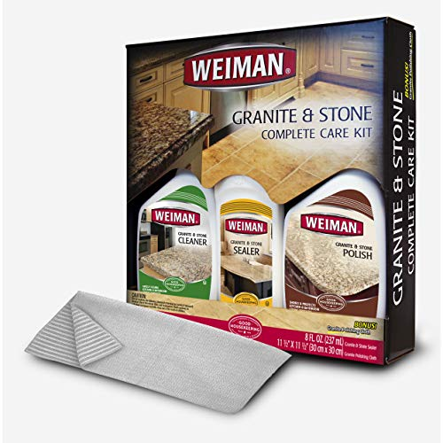 Weiman Granite Cleaner Polish and Sealer - Kit - Seal and Protect For Granite Marble Soapstone Quartz Quartzite Slate Limestone Corian Laminate Tile Countertop and More (Best Granite Polish And Sealer)