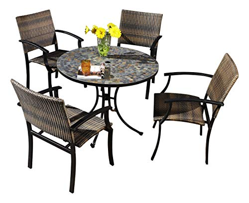 - Patio Dining Set. 5 Piece Outdoor Porch, Deck, Lawn, Pool, Garden, Balcony Diner, Conversation, Seating, Bistro, Chat Metal Furniture Kit. Outside Round Table, Chairs