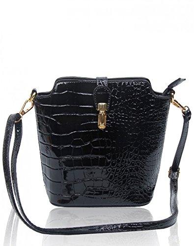 LeahWard? Small Size Ladies Women's Chic Cross Body Bag Faux Crocodile Skin / Plain Across Body Handbags 160402 C-black