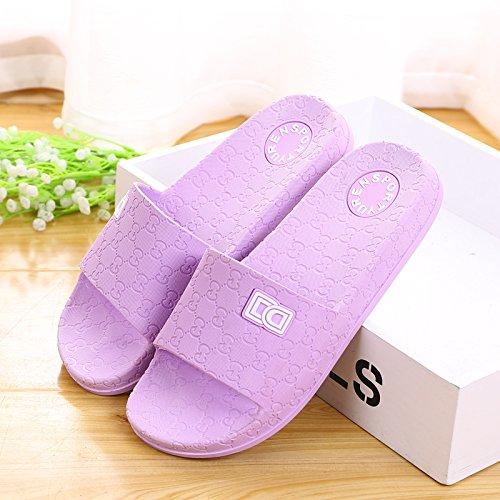 Amantes zapatillas zapatillas de casa de verano, plástico antideslizante base gruesa,41 Mei Hong 40 purpura