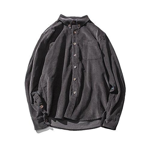 F.P Men's Boys Original Casual Corduroy Splicing Long-Sleeved Button Down Lapel Slim Fit Shirt Top (Dark Grey, M) Corduroy Long Sleeved Shirt
