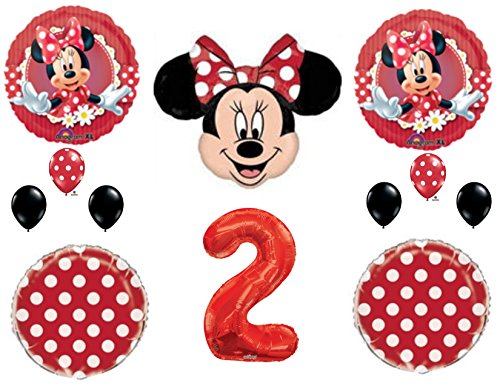 RED Minnie Mouse 2nd Birthday Party Balloons Decoration Supplies Second Disney]()